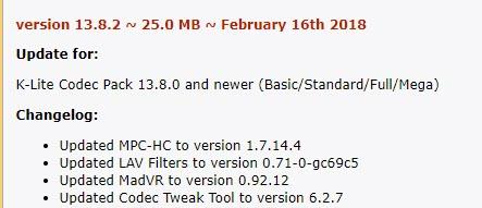 k-lite codec pack mega 13.8.0