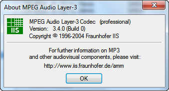 MPEG Layer-3 Codec (Professional) version 3 4 0 - Software