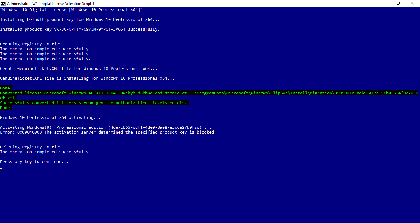 the activation server determined the specified product key has been blovked