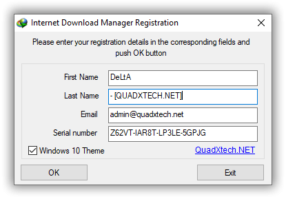 internet download manager has been registered with a fake serial number 6.30