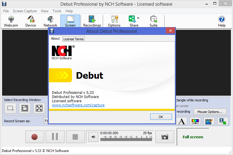 debut by nch software code