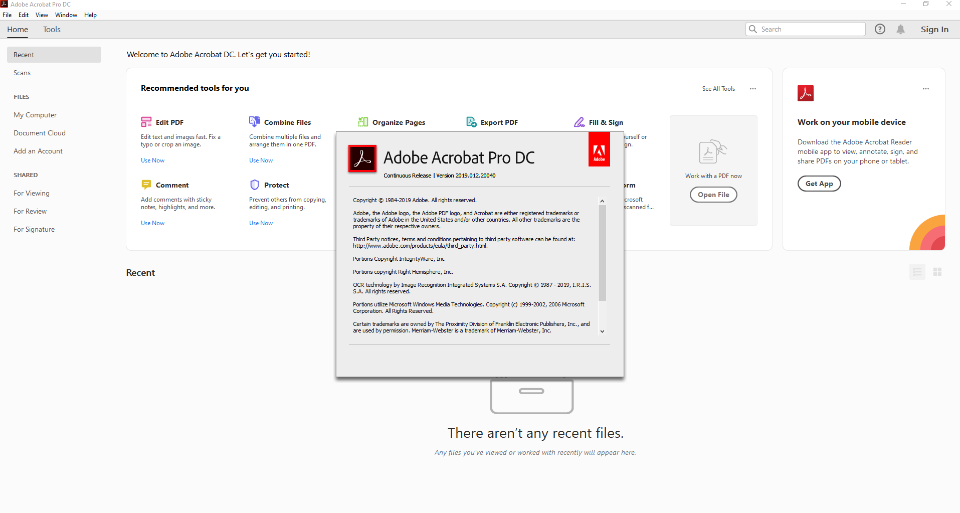 Adobe Acrobat Pro DC 2019 012 20040 - Software Updates